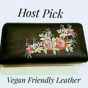 Black Faux Leather Embroidered Rose Zipper Wallet